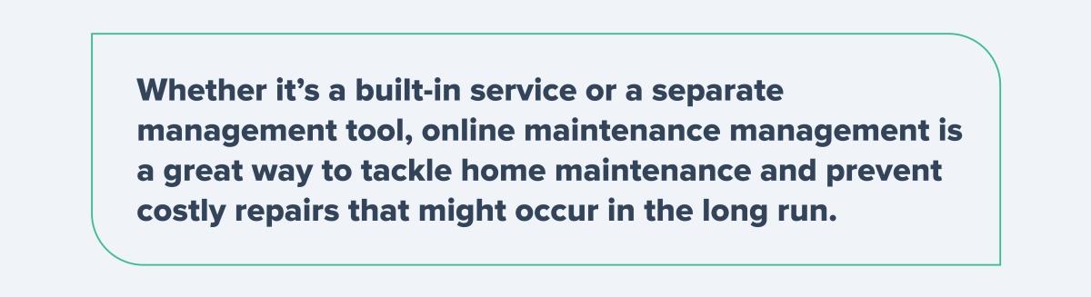 Online Maintenance Management