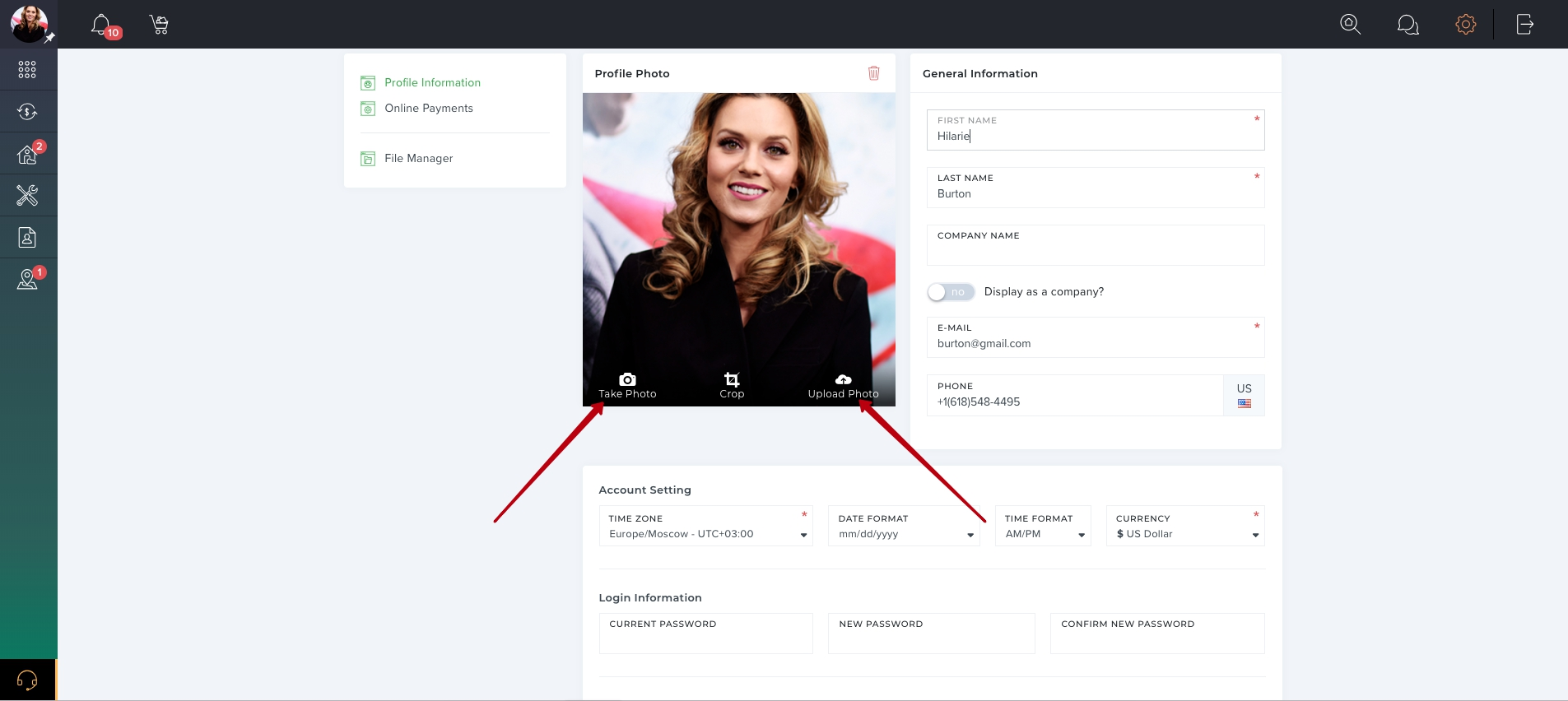 How to upload account profile photo?