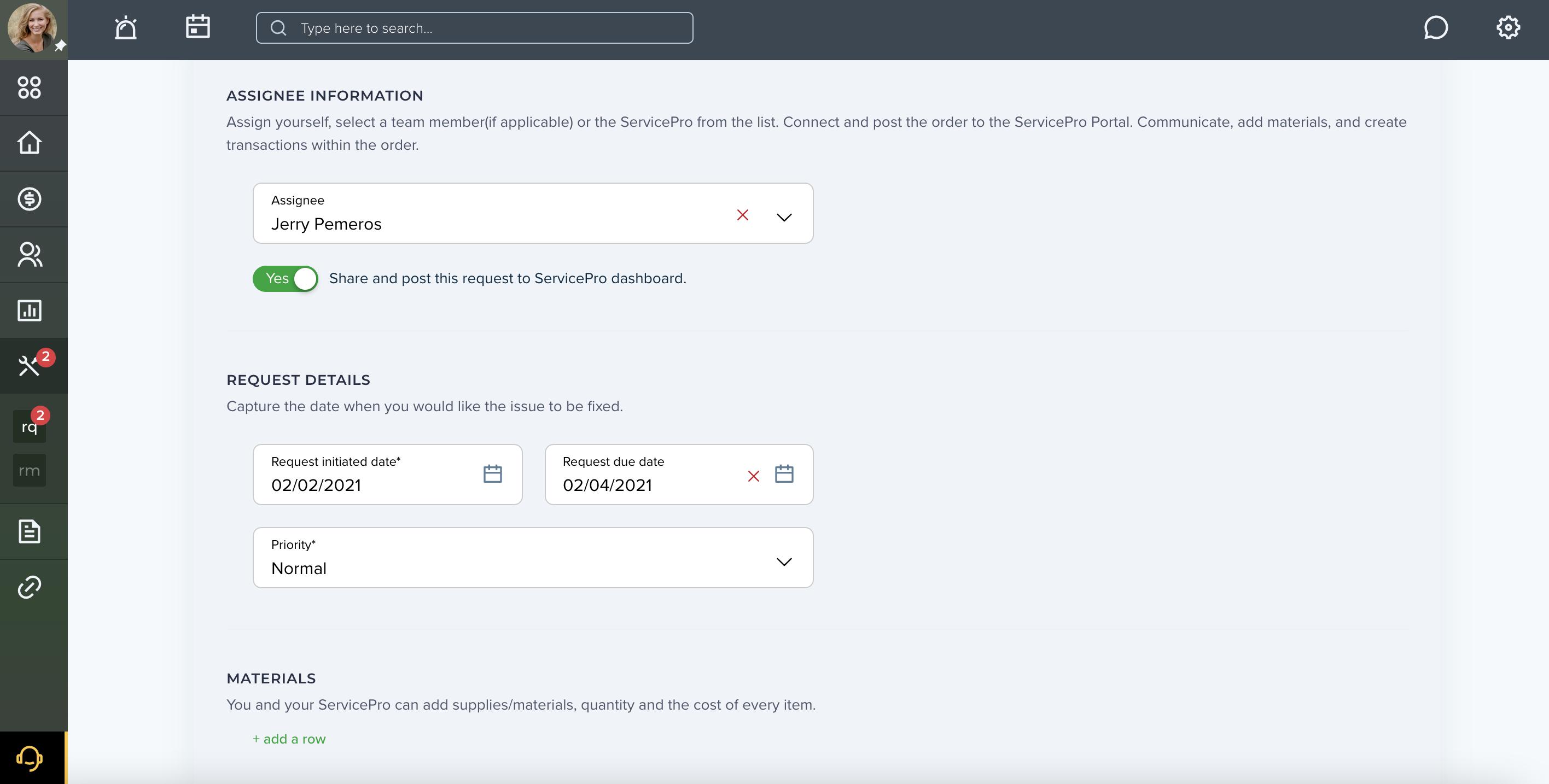 Online Maintenance Request Form