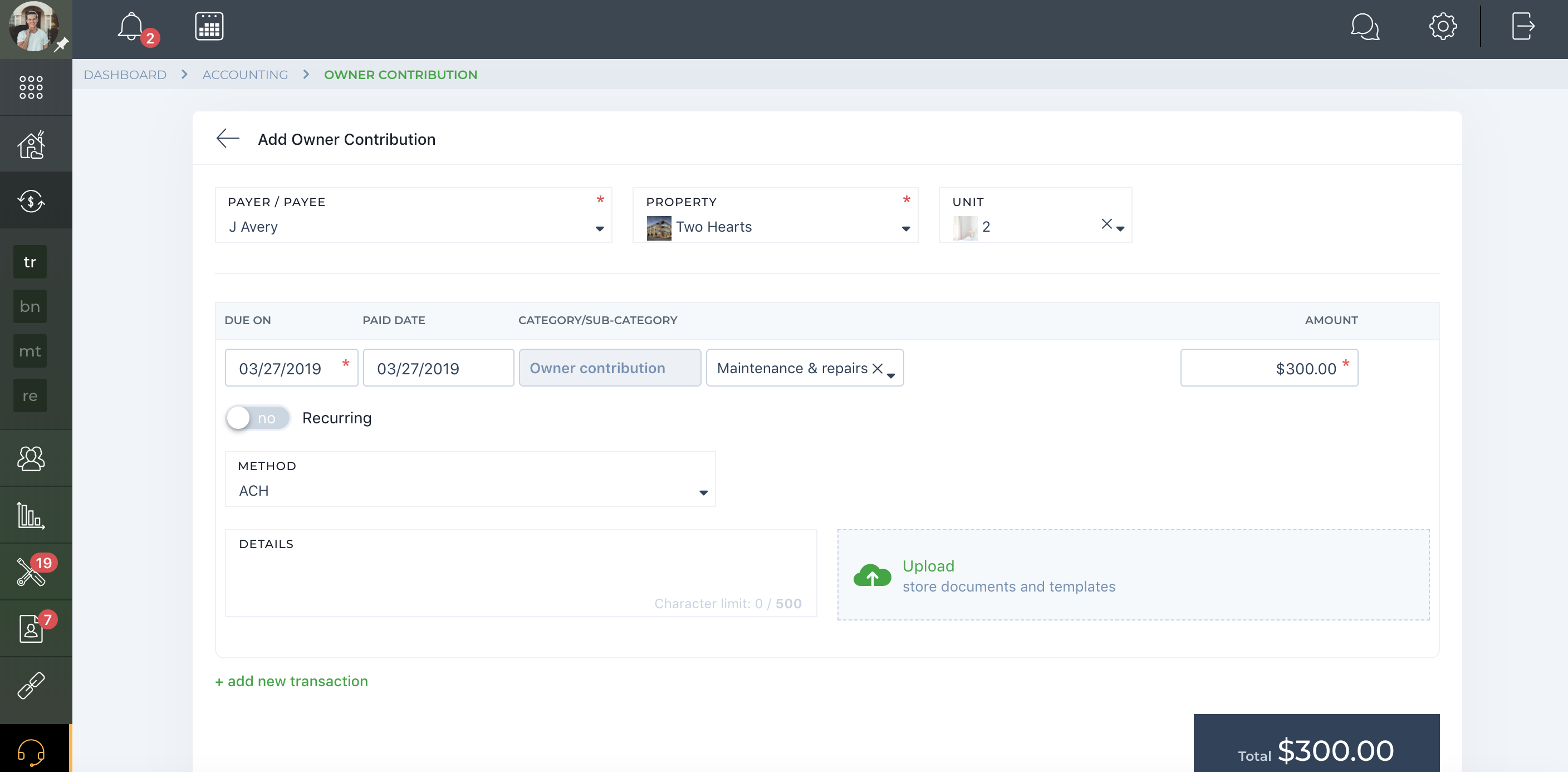 owner contribution to property managers via TenantCloud is easy.