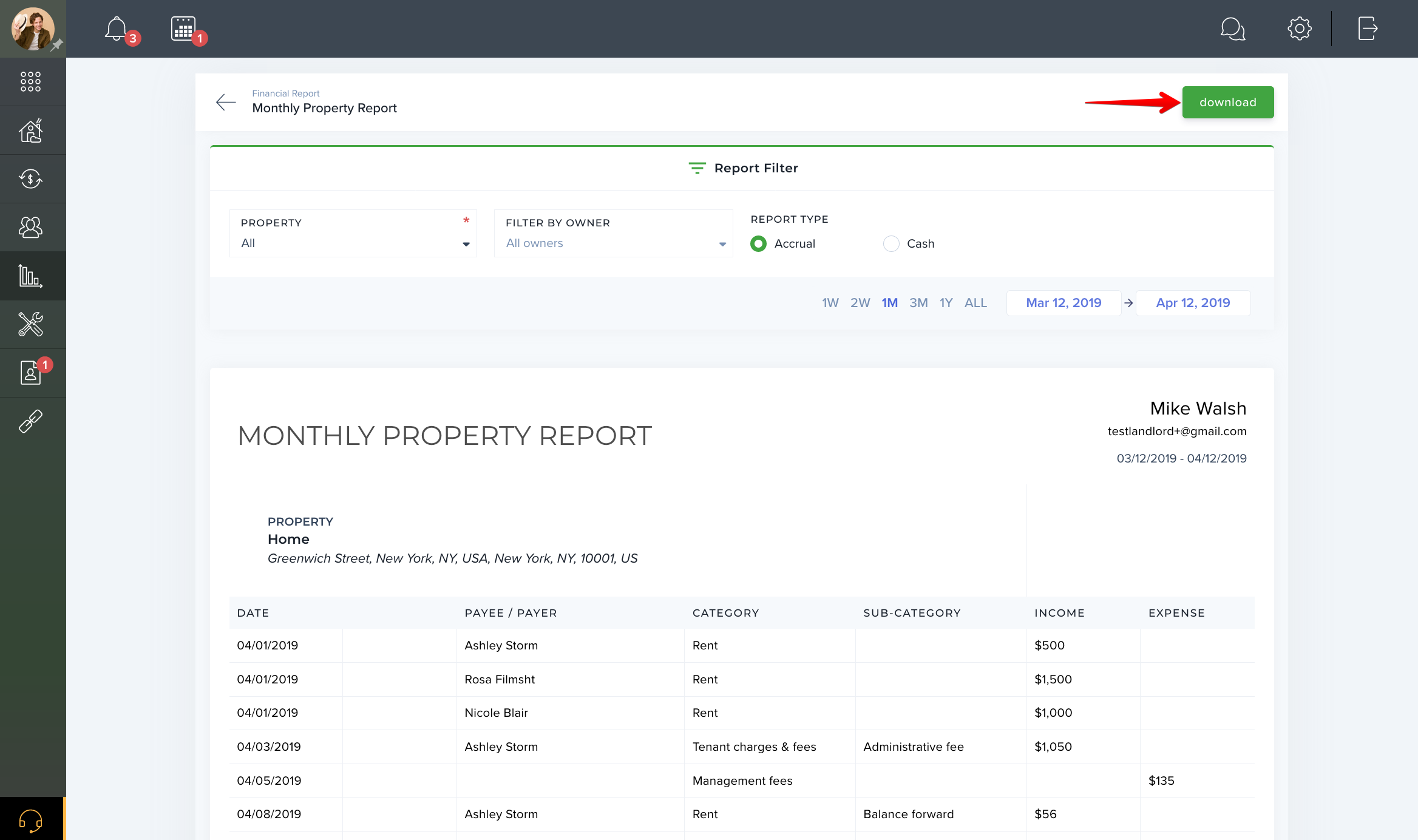 Monthly Property report