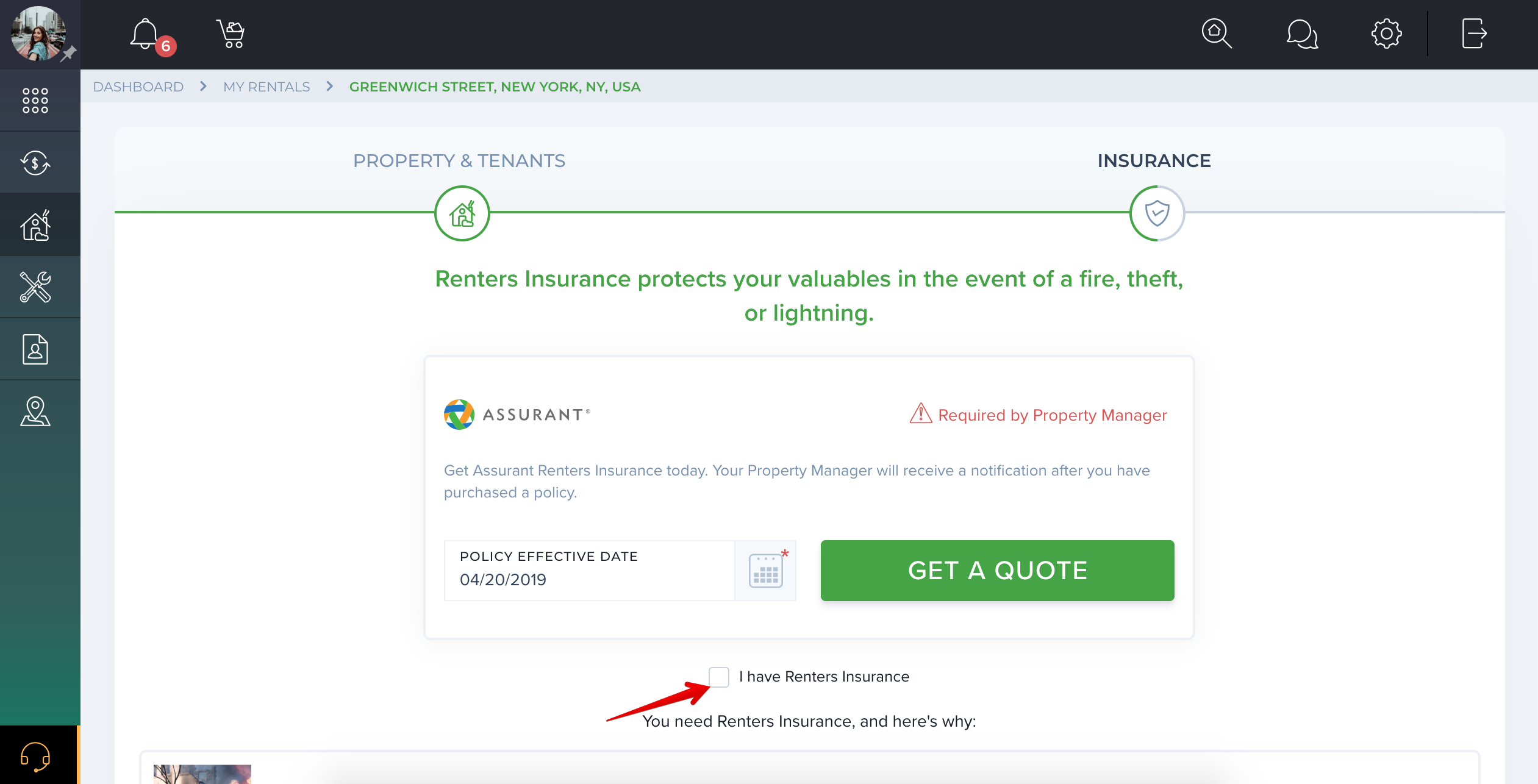How to provide my Renters Insurance purchased outside TenantCloud?