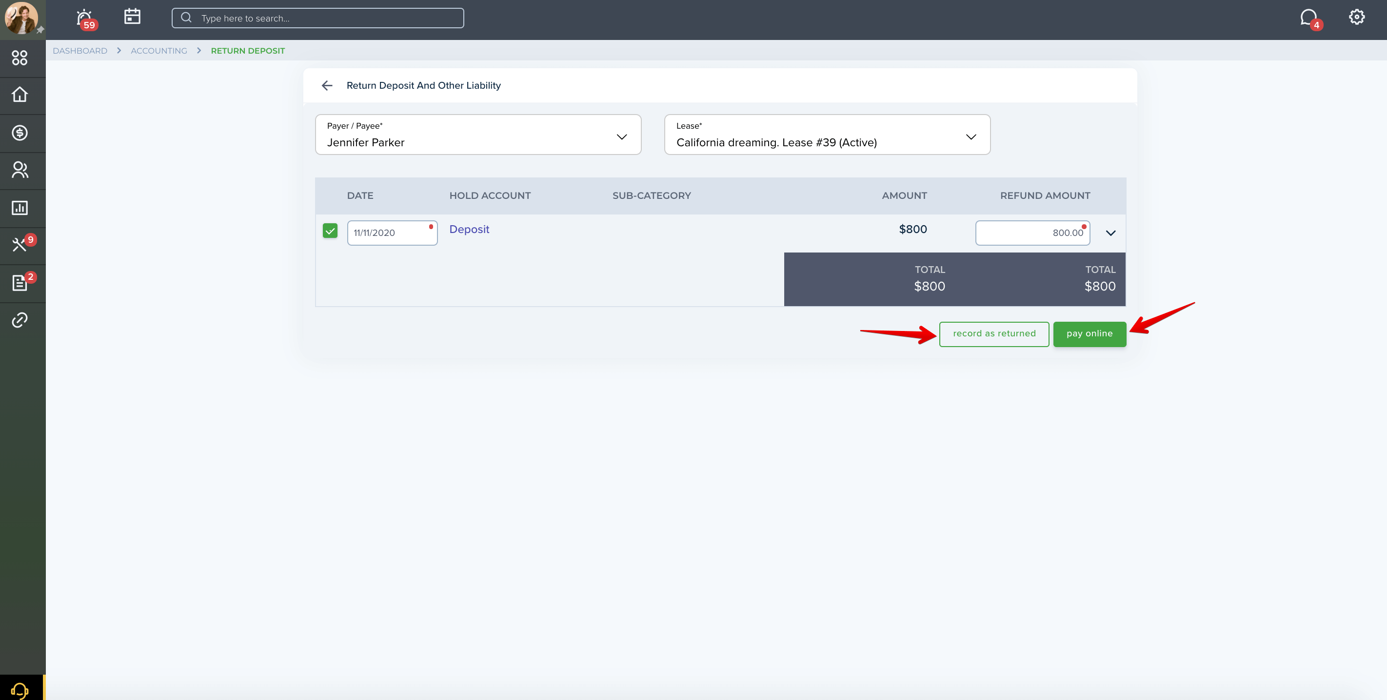 Accounting page in your TenantCloud account
