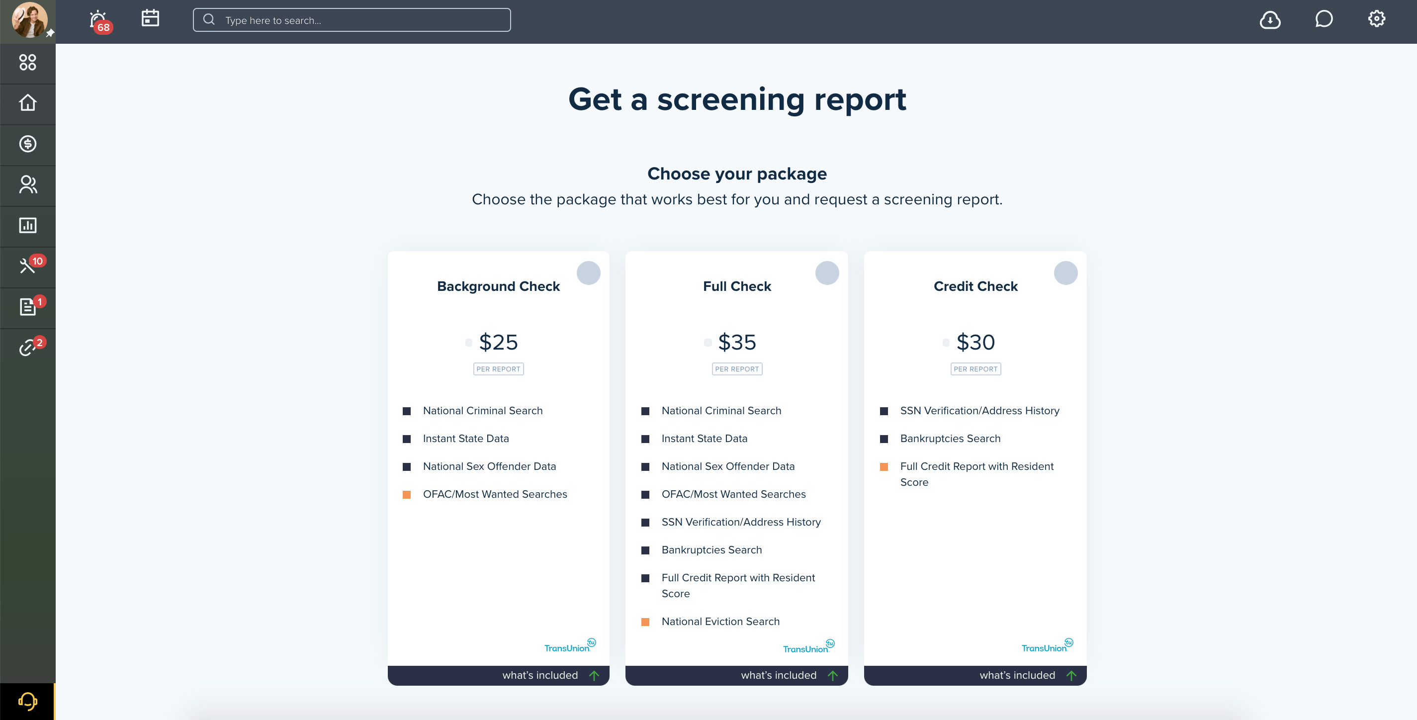 Get a screening report