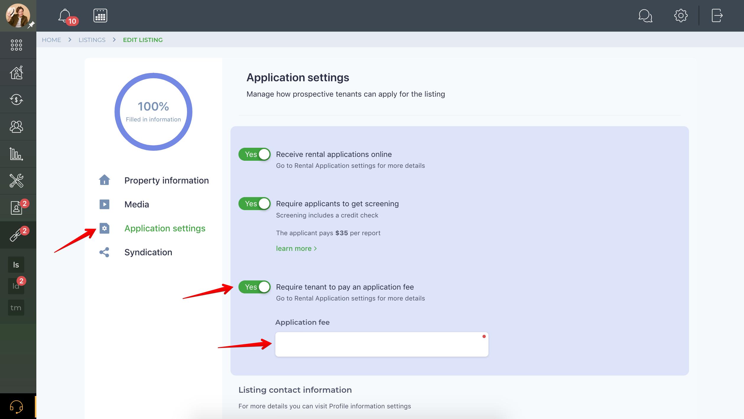 How do I set up an application fee?