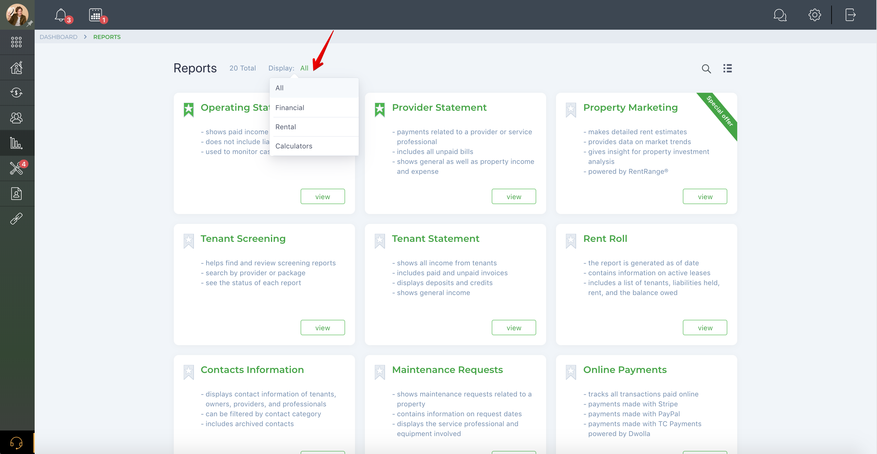 How do I view reports offered by TenantCloud?