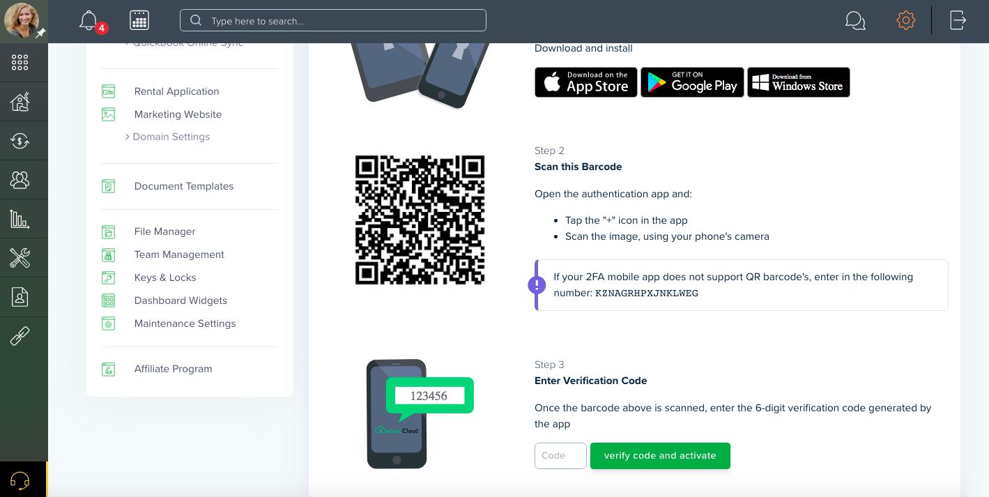 TenantCloud Two-Factor Authentication