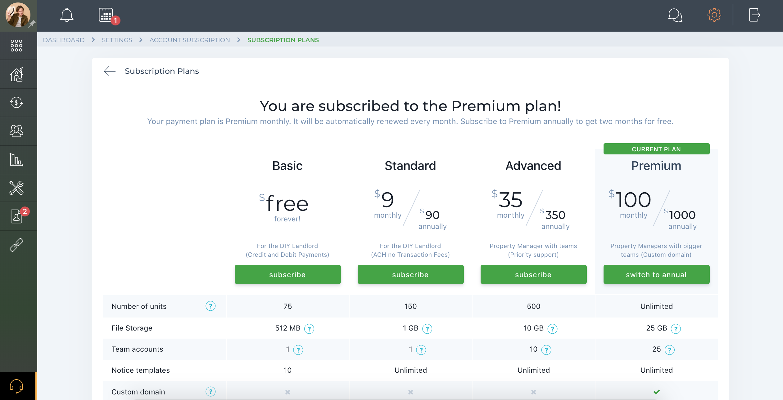 Subscription plans & Pricing