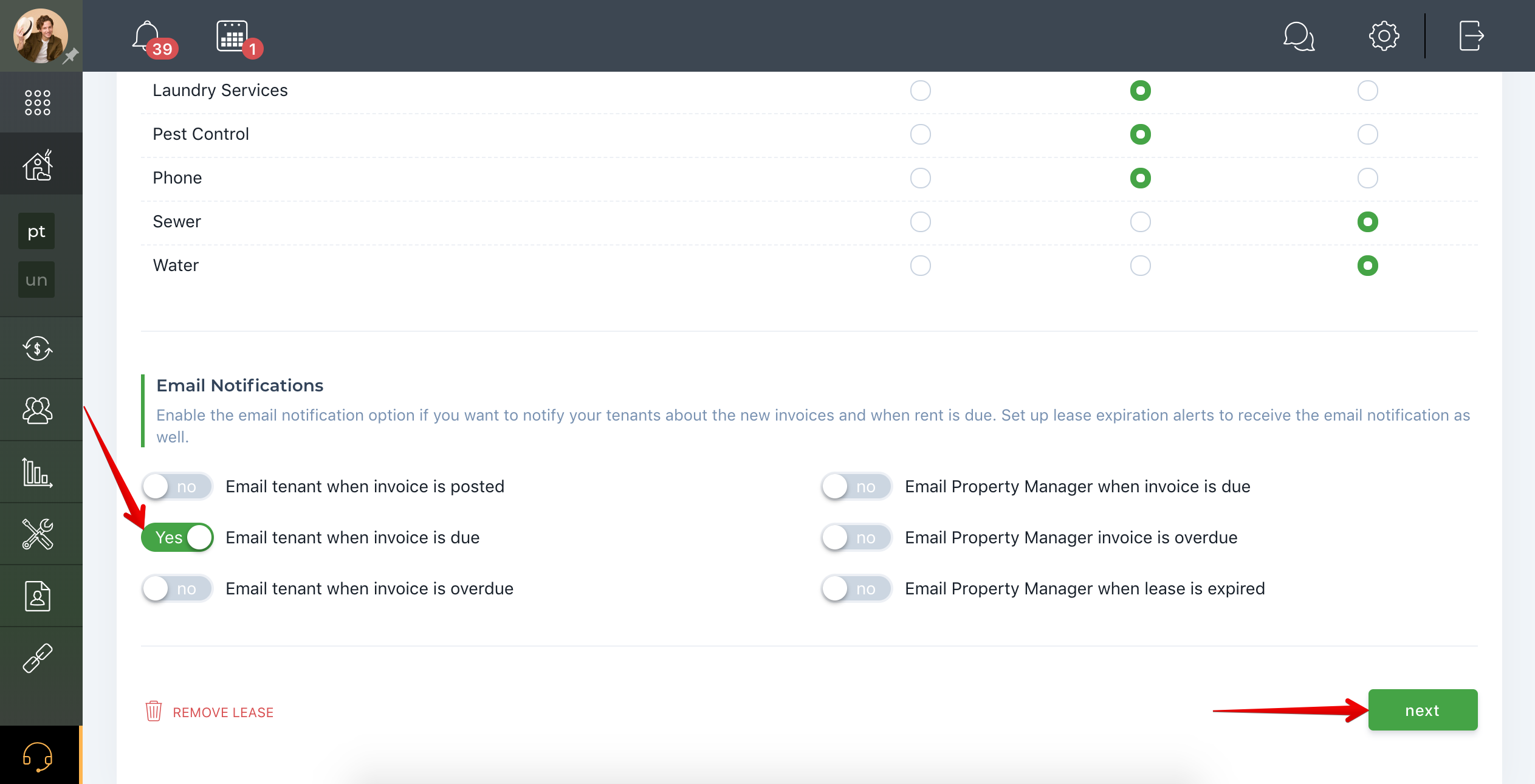 Can an email be automatically sent to the tenant when rent is due?