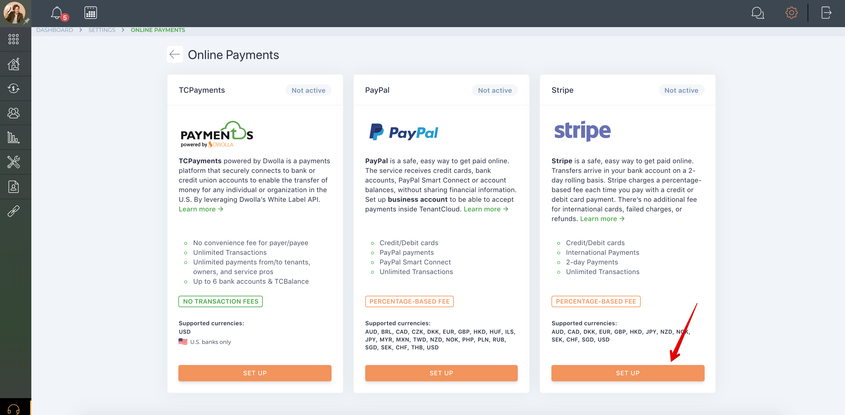 How do I set up my Stripe account?