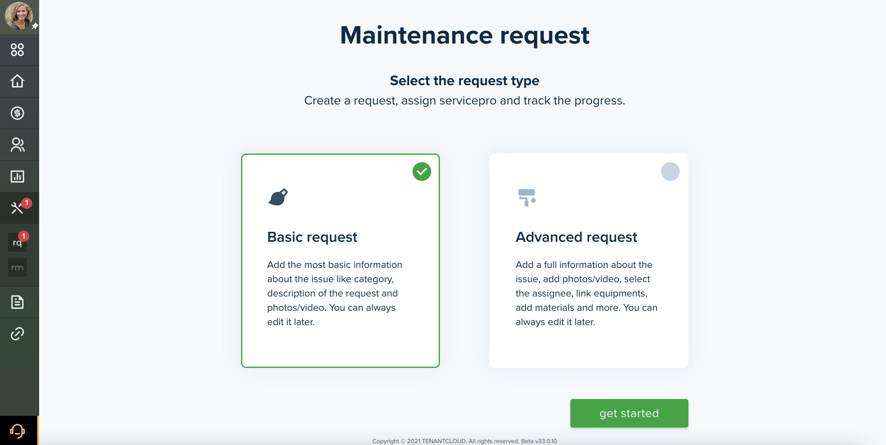 Choose Maintenance Request Type