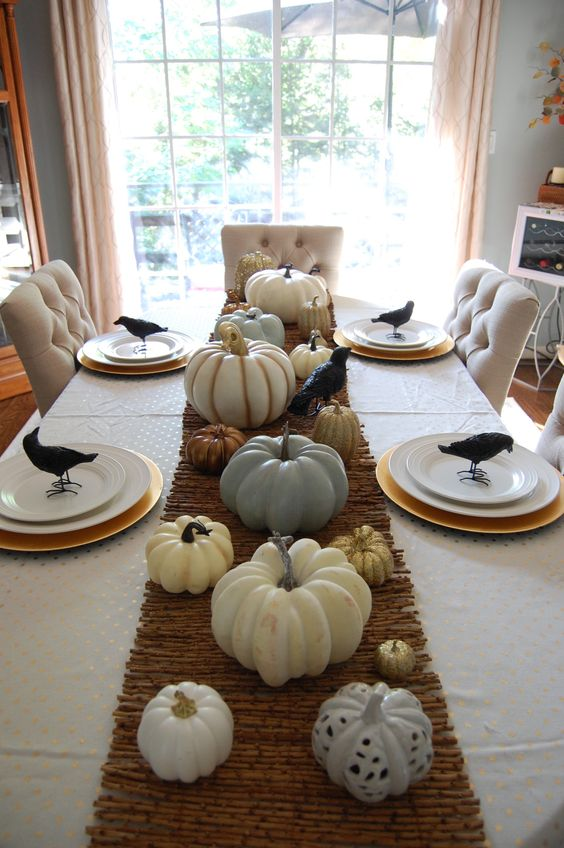 decorating dinner table for halloween in a rental