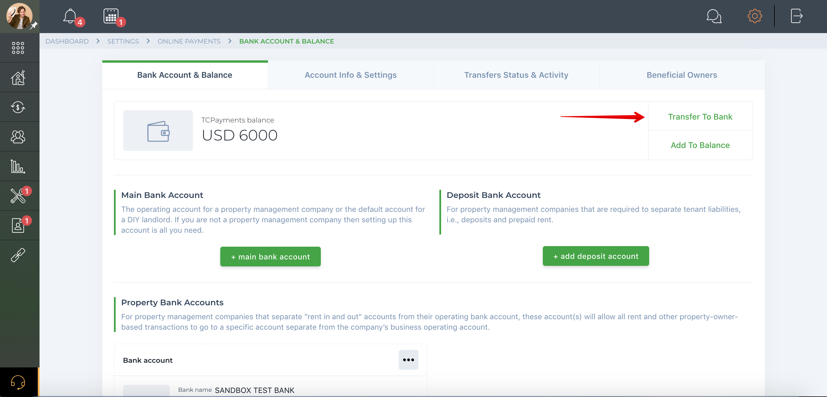 How to send money from TCBalance to bank account?