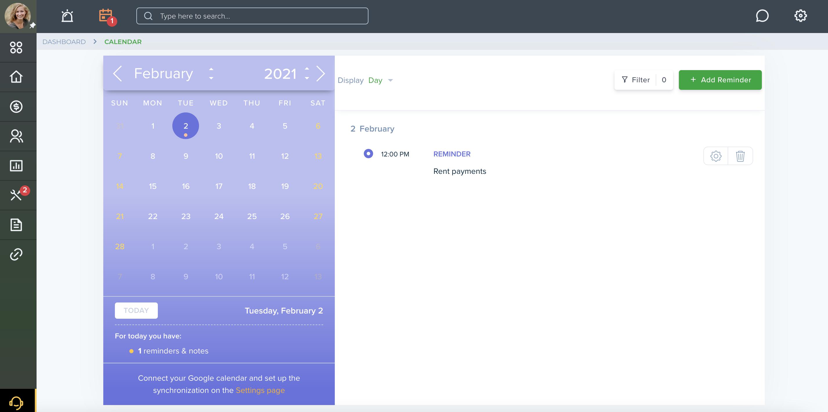 TenantCloud calendar notifications and reminders