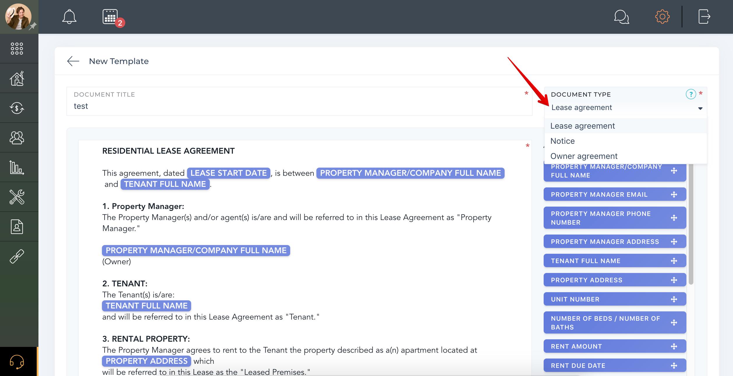 How to add Residential Agreement template?