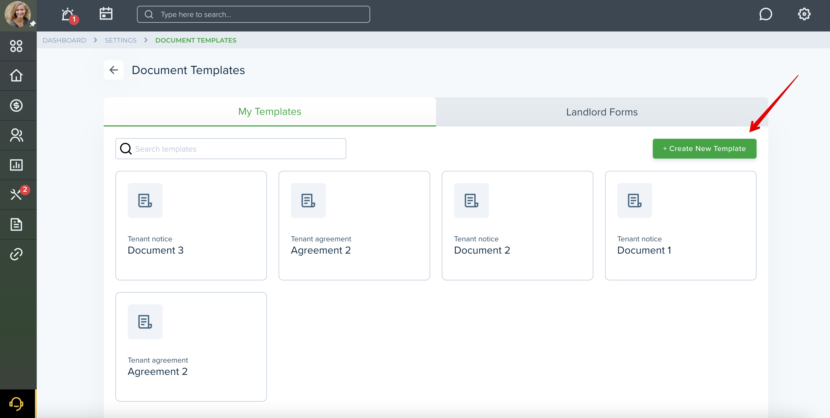 how to create a new rental agreement document in TenantCloud account